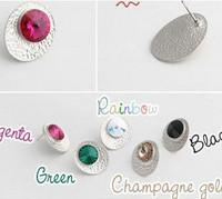 Free shipping  jewelry accessories   disc zircon star style stud earring    multicolor stud earrings
