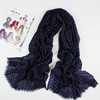 Wool shawls four seasons shawl pure wool scarf pure and fresh and elegant simple but elegant small dot star rain sky