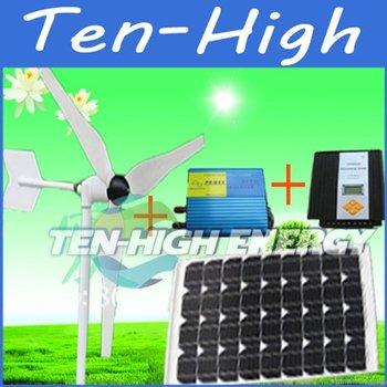 Fedex Freeshipping! 100w wind turbine+50W solar panel+600W hybrid controller+300W Off Grid Pure Sine Wave Power Inverter