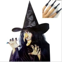 Free shipping halloween decorations/party ornament/christmas accessories/witch hat, nails, teeth, nose, chin/witch suit