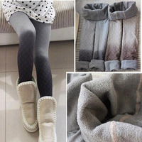 Fashion plaid dot gradient color double layer thermal bamboo pants velvet legging Free Shipping 1825