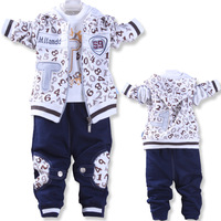 2013 autumn digital male child baby set  three piece set coat+pank+T shirt children's clothing