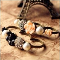 Unique Pearl Rosin Rose Flower Three Finger Rings For 2013 2pcs/Lot Z-Q514 Free Shipping