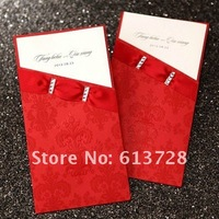 Free customized printing, red wedding invitation card, CW1001, Wedding favors , free shipping
