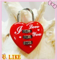 free shipping Retail&Wholesale Guarateed100%, the fashion Red Heart-type mini-lock, code lock ,Password lock+ free shipping