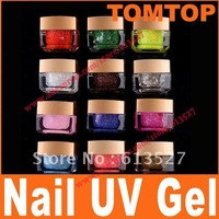 12 Mix Colors Pure UV gel Set Glitter shiny builder colorful Free Shipping