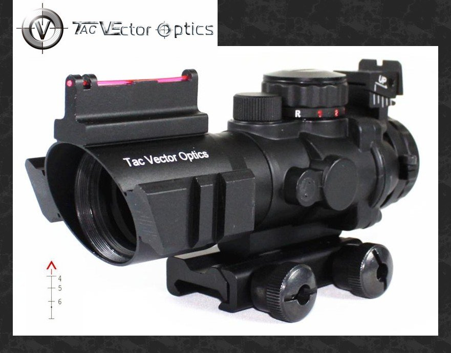 Vector Optics Goliath 4x32 Tactical Compact Riflescope Fiber Optics Sight Tri Illumination Chevron Reticle