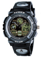 Pasnew dual display submersible sports table multifunctional men's electronic watch pse-048b