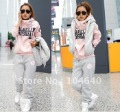 2012 Spring Korean Women Leisure Sports Hoodie Set &amp; Three-piece Thickening of The Sweater (1 set=3pcs)