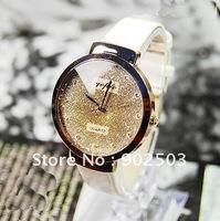 Graceful shiny dial quartz analog watch,PU leather watchband,lady's fashion Watch +free shipping