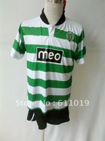 Free China post air mail 13/14 Sporting Lisbon home soccer jersey green white shirt with black shorts and embroidery Logo