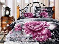 New Beautiful 4PC 100% Cotton Comforter Duvet Doona Cover Sets FULL / QUEEN / KING SIZE bedding set 4pcs elegant flower WZF-8005