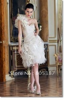 wd000103 Wedding Dresses Ivory Taffeta one shoulder sweetheart Neckline Sleeveless Knee-length Short Wedding Dresses