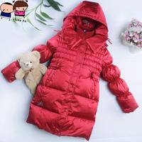 2012 winter Child down coat girls medium-long top high very thick children's clothing down coat 0112