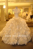 wd000104 free shipping cheap Wedding ball gowns Ivory Taffeta one shoulder scoop Neckline Sleeveless floor length