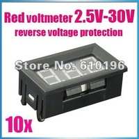 Brand New Red DC 2.5V to 30V Digital Voltmeter Voltage Panel Meter for motorcycle car,auto etc 10PCS