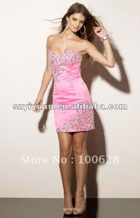 2012 Hot Sale Sweetheart Crystal Short Above-legnth Homecoming Cocktail Evening Dress in Stock(China (Mainland))