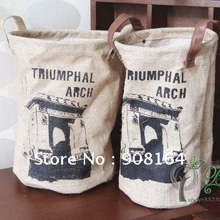 New Arrival Hot Sales S/2 Round Triumphal Arch Pattern Jute Storage Basket(China (Mainland))