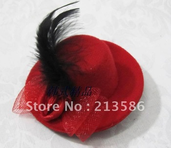 2012 sweetday new arrival Small rose double bow  fedoras hair accessories feather fascinator hats 6 colors /lot