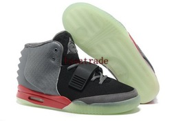 Free Shipping Wholesale Famous Trainers Kanye West Air Yeezy 2 Glow In The Dark Men&#39;s Basketball Shoes (Black / Pavement grey)(China (Mainland))