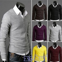 Men Slim Fit V-neck Bottoming Knit Sweater Hot Mens Casual Knit New Size M/L/XL/XXL 6Colors SL00196