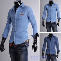 New Blue Men's Long Sleeved Casual Shirt w/Pocket Denim Cowboy Style SL00198