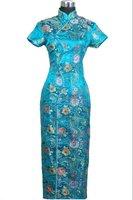 Light Blue Chinese Women's Satin Long Qipao Cheong-sam Dress Flower S M L XL XXL XXXL J0026
