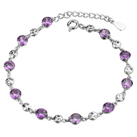 2014 New Arrival New Freeshipping Pulseiras Femininas One Direction Pulseira Jpf Amethyst 925 Pure Bracelet Women's Jewelry