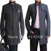 Korean long coat Slim coat stand collar woolen coat Men