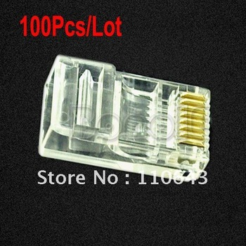 Holiday Sale! Hot Sale 100Pcs/Lot RJ45 RJ-45 CAT5 Cat5e Cat6 Cable Modular Plug Network Connector  096
