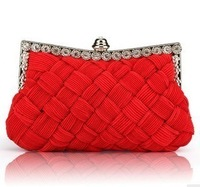 Bridal bag red 2012 wedding package diamond silks and satins bag women's day clutch evening bag chain bag cross-body