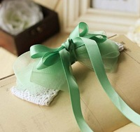 Free shipping  handmade bowknot hair accessory hairpin hairclip autumn greenncolor children lady hair accessories
