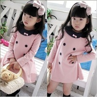 2013 spring autumn pink girls baby dress  clothing  bow skirts long-sleeve dress  princess dress