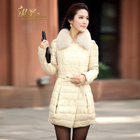 Silver 2012 medium-long genuine leather sheepskin down coat women outerwear fox leather clothing