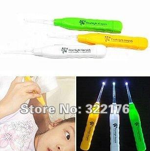[ Life Art ] 1000/lot , Earwax spoon /shine earwax spoon antiskid handles /Flash light Earpick/ ear Cleaner/ Lighting Earpick