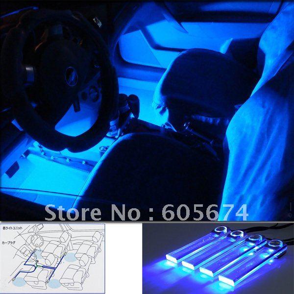 4PCS Blue LED Car Auto Floor Interior Dash Decorative Light Cigarette