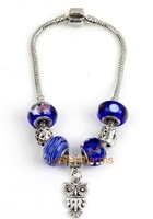 Wholesale -Free shipping  8pcs Bead Bracelets 21cm with Alloy beads blue  Murano Glass beads Fit  Dress up  151832