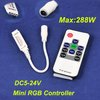 4pcs/lot,New DC5-24V Mini LED RGB Controller with Power Supply Socket + RF Remote Control for SMD 3528/ 5050 RGB Strip light