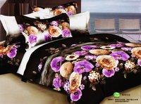 New Beautiful 4PC 100% Cotton Comforter Duvet Doona Cover Sets FULL / QUEEN / KING SIZE bedding set 4pcs black purple flowers