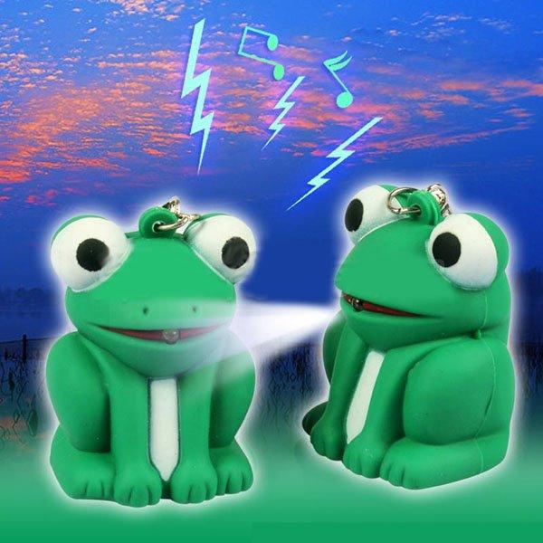 Wholesale 10piece/lot Mini LED FROG KEY CHAIN Light Sound Toy Keychain Torch Flashlight(China (Mainland))