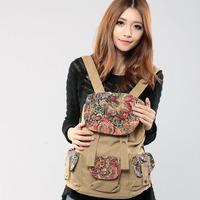 free shipping 2013 new arrival fashion vintage floral brand designer travel backpack rucksack
