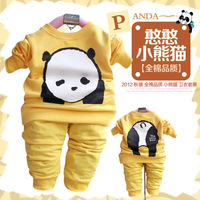 Free shipping 2012 autumn baby cartoon graphic patterns long-sleeve set children sports twinset