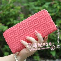 2012 hot-selling small plaid candy color women's wallet long design single zipper pendant wallet