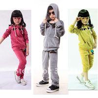 Autumn fashion Gilrs suits 2pcs/set hoodies+pants Kids suits Children/Velour clothing Sportwear Casual clothes