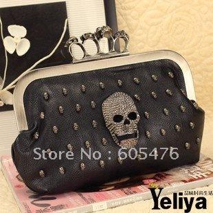 free/drop shipping 2012 women's handbags gem skulls ring  evening bag day clutches