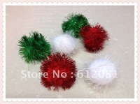 "Free shipping pet toys GLITTER POM POM BALLS 1"" - Sparkly Shiny Small Cat Kitten Toys mixed colors 50pcs/lot"