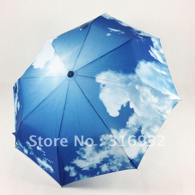 Anti-UV Waterproof Blue Sky&White Cloud Sun/Rain 3 Fold Manual Umbrella, high quality