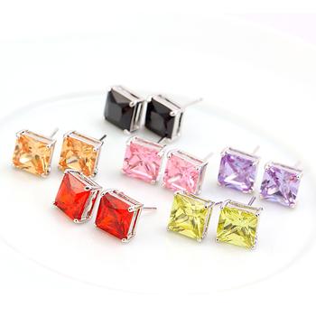 Hot Decorations accessories zircon stud earring female earrings 8mm vintage earrings sweet candy color