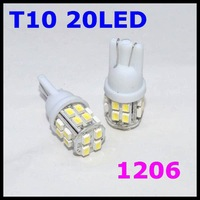 Free Shipping! 10 pieces/lot DC 12V T10 W5W 158 SMD 20LEDs car Side Wedage Light bulb Lamp COOL WHITE