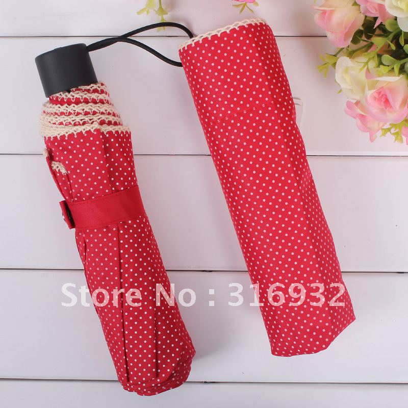 2013 elegant dot lace parasol folding princess umbrella, 5 colors for choice(China (Mainland))
